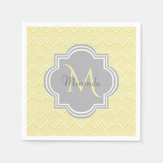 Serviettes Jetables Nom gris de monogramme de festons jaunes chics