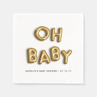 Serviettes Jetables Oh baby shower de ballon d'or du bébé |