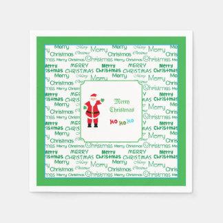 Serviettes Jetables Ondulation de Père Noël de Joyeux Noël