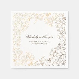 Serviettes Jetables Or et mariage vintage floral blanc
