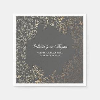 Serviettes Jetables Or et mariage vintage floral gris