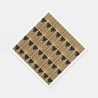 Serviettes Jetables Or et motif noir d'art déco