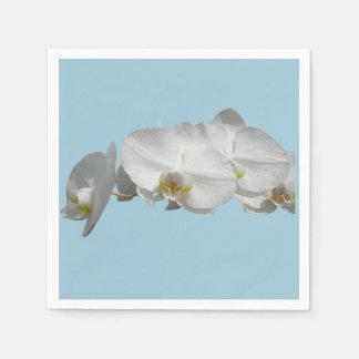 Serviettes Jetables Orchidée assez blanche sur bleu-clair