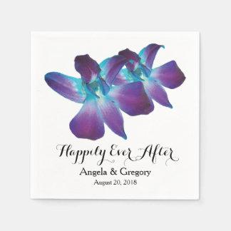 Serviettes Jetables Orchidée bleue de Dendrobium épousant heureusement