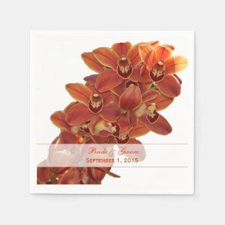 Serviettes Jetables Orchidées oranges épousant les serviettes de