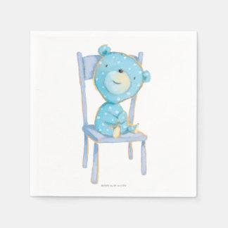 Serviettes Jetables Ours bleu de calicot souriant sur la chaise