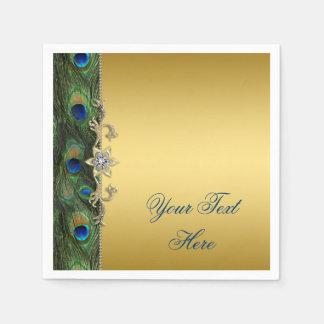 Serviettes Jetables Paon élégant de vert bleu royal et d'or