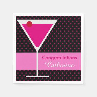 Serviettes Jetables Partie rose moderne de félicitation de Martini de