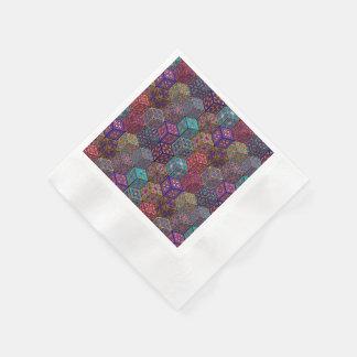 Serviettes Jetables Patchwork vintage avec les éléments floraux de