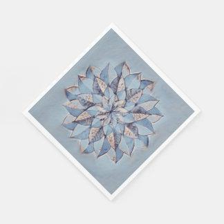 Serviettes Jetables Peinture abstraite florale bleue de serviettes de
