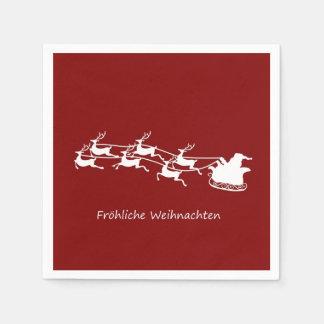 Serviettes Jetables Père Noël sur Sleigh Fröhliche Weihnachten