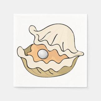 Serviettes Jetables Perle dans les serviettes de papier d'une huître