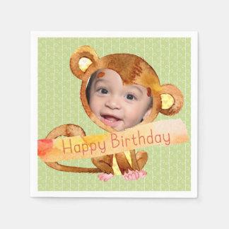Serviettes Jetables Photo de joyeux anniversaire de Monkeyshines