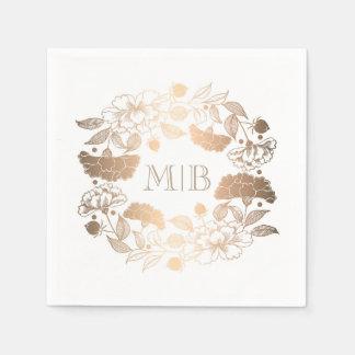 Serviettes Jetables Pivoines d'or - mariage floral de jardin de