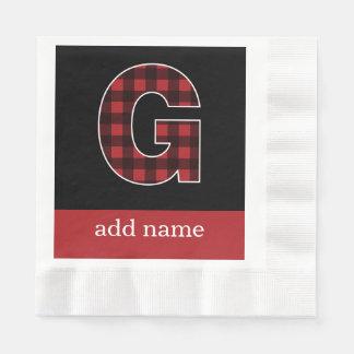 Serviettes Jetables Plaid noir et rouge de la lettre G de monogramme -