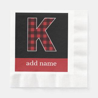 Serviettes Jetables Plaid noir et rouge de la lettre K de monogramme -