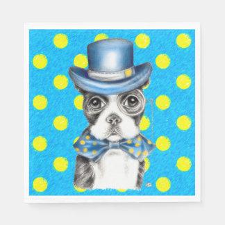 Serviettes Jetables Point de polka de Boston Terrier