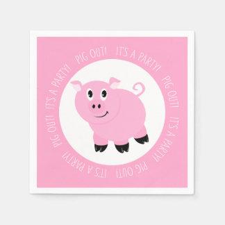 Serviettes Jetables Porc c'est un anniversaire porcin rose mignon de