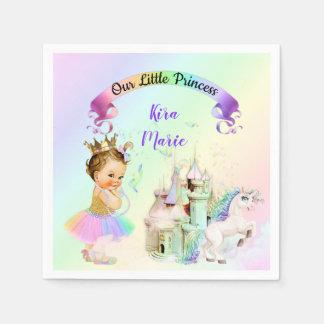 Serviettes Jetables Princesse magique Castle Unicorn d'arc-en-ciel