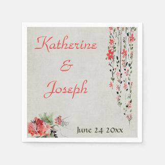 Serviettes Jetables Réception de mariage florale orientale d'aquarelle