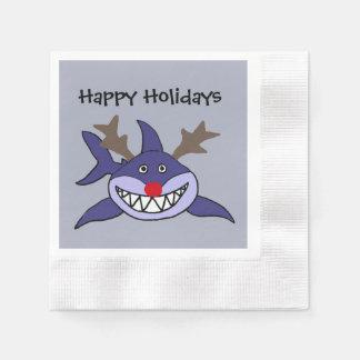 Serviettes Jetables Renne drôle de requin de Noël