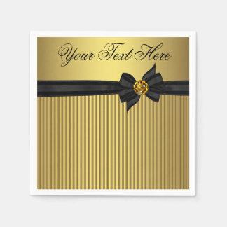 Serviettes Jetables Retraite élégante de noir et d'or