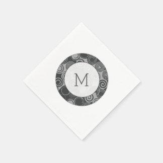 Serviettes Jetables Rétro monogramme à la mode de gris argenté de