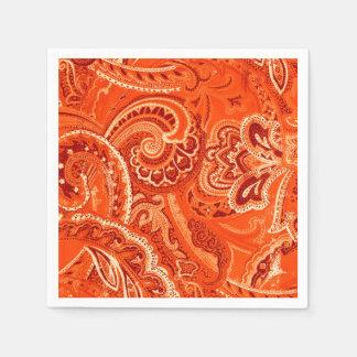 Serviettes Jetables Rétros bandanna/Bandana oranges de Paisley