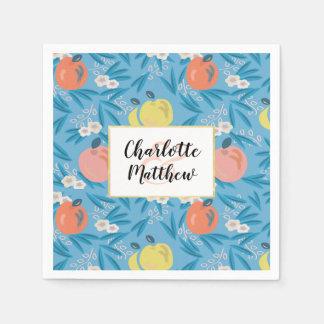 Serviettes Jetables Rose floral de bleu de ciel d'Apple épousant les