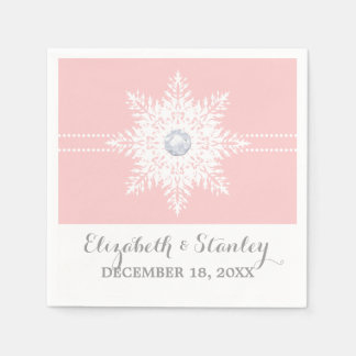 Serviettes Jetables Rose moderne de flocon de neige, mariage blanc