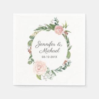 Serviettes Jetables Roses floraux et la verdure tressent le mariage