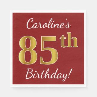 Serviettes Jetables Rouge, anniversaire d'or de Faux 85th + Nom fait