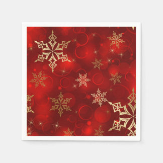 Serviettes Jetables Rouge et serviettes de vacances de Noël de flocons