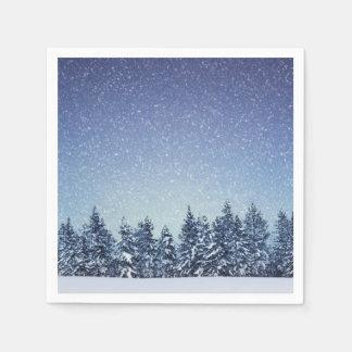 Serviettes Jetables Scène gelée de forêt d'hiver de neige