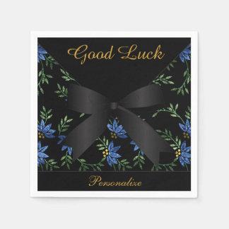 Serviettes Jetables Scintillement bleu élégant floral