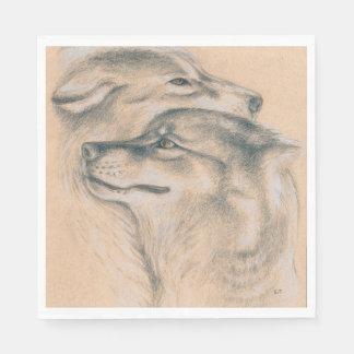 Serviettes Jetables Se blottir des loups dessinant l'art