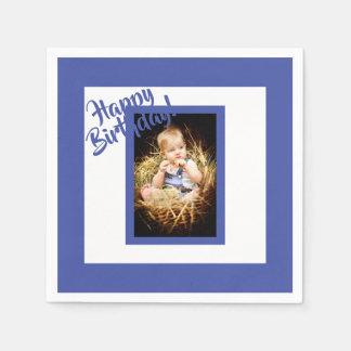 Serviettes Jetables Serviette bleue d'anniversaire de photo pour un