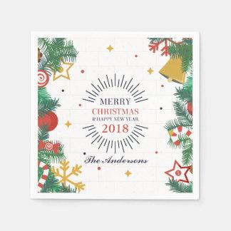 Serviettes Jetables Serviette de Joyeux Noël personnalisé et de