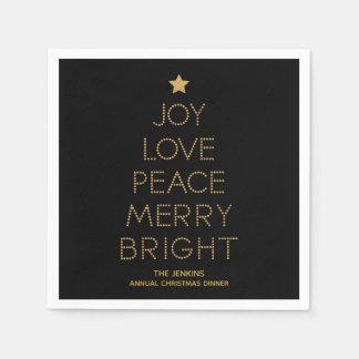 Serviettes Jetables Serviette de Noël de typographie d'arbre de Noël