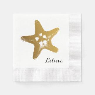 Serviettes Jetables Serviette de papier d'étoiles de mer d'or