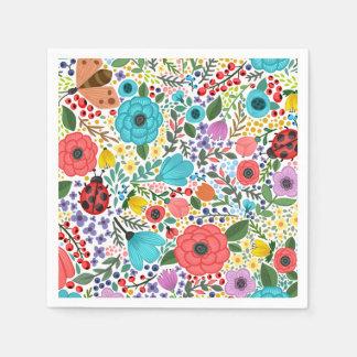 Serviettes Jetables Serviette écervelée florale douce et colorée de |