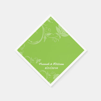 Serviettes Jetables Serviette faite sur commande florale verte