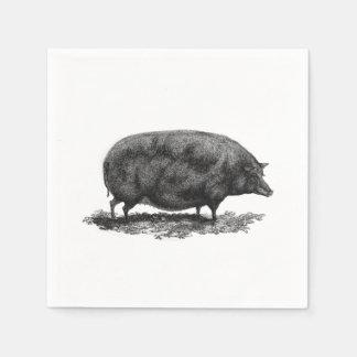 Serviettes Jetables Serviette vintage gravure à l'eau-forte de porc
