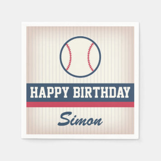 Serviettes Jetables Serviettes de papier d'anniversaire de base-ball