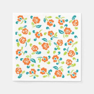 Serviettes Jetables Serviettes de papier florales colorées