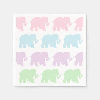 Serviettes Jetables Serviettes en pastel de cocktail d'éléphants
