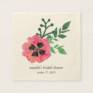 Serviettes Jetables Serviettes nuptiales florales roses de douche