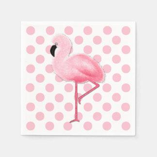 Serviettes Jetables Serviettes roses de point de flamant et de polka