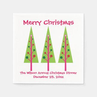 Serviettes Jetables Serviettes roses et vertes de Noël d'arbres de