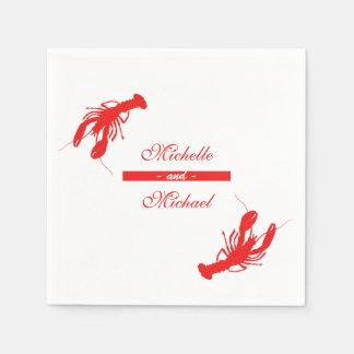 Serviettes Jetables Serviettes rouges de cocktail de homard